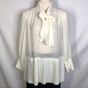 Frame size XL white sheer pleated bow tie blouse